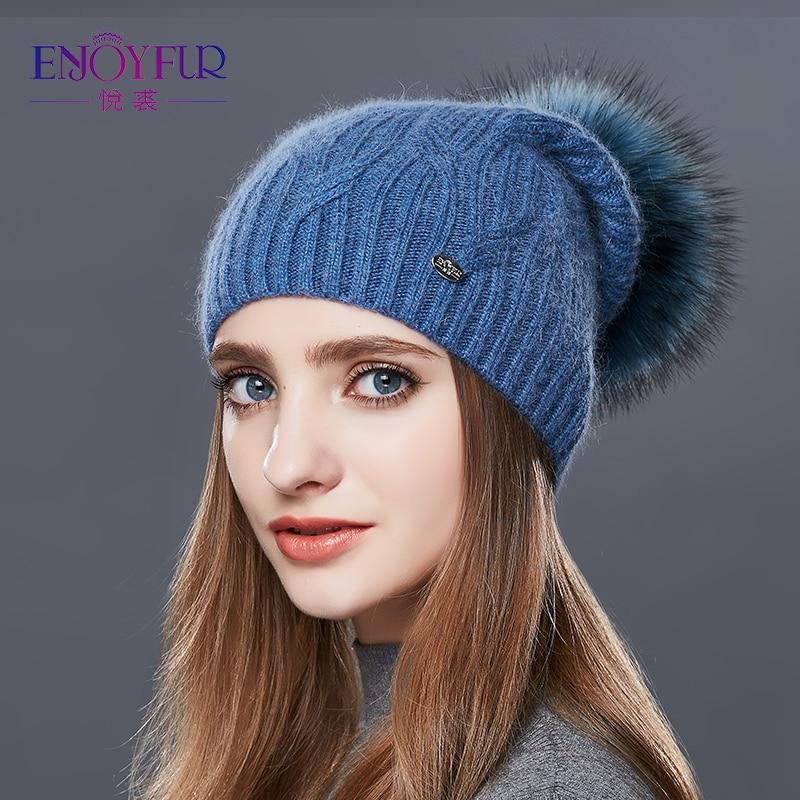 ENJOYFUR High Quality Cashmere Women Winter Hats Fashion Link Type Knitted Hat Female Girl Autumn Fur Pompom   Beanies   2018