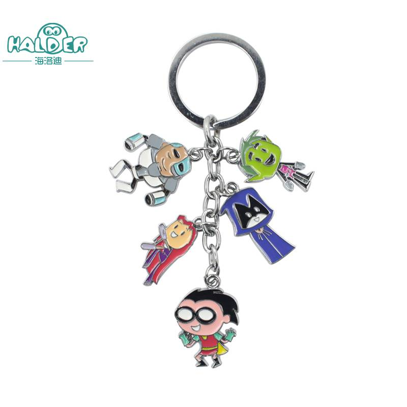 Halder Anime Teen Titans Hero Figures Key Chain Raven Beast Boy Robin Keyring Round Cartoon Trinkets Accessories Gift Keychain ...
