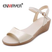 ENMAYER  Genuine Leather Sandals Women 2019 Summer Fashion Wedges Shoes for Mid high Size 34-40 LY1431