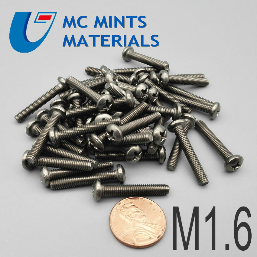 24pcs M1.6 x2 12mm Ti Bolt Titanium Bolt Truss Cross Head Original Ti Color Not Polished Grade 2 Titanium Screw Ti Fastener