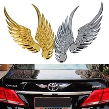 1pair 3D dimensional Alloy Metal car stickers Angel Hawk Wings Emblem Badge Decal Car Logo Sticker golden silver color optional b0103 angel wings style pvc car body sticker silver