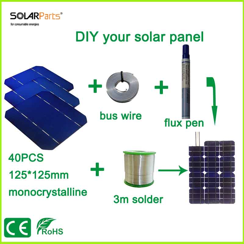 Solarparts DIY your solar panel kits with 125*125mm monocrystalline solar cell use flux pen+tab wire+bus wire for DIY 100w Solar