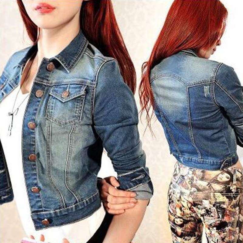 Fashion Spring Autumn Women Jeans Jacket Short Tops Long ...