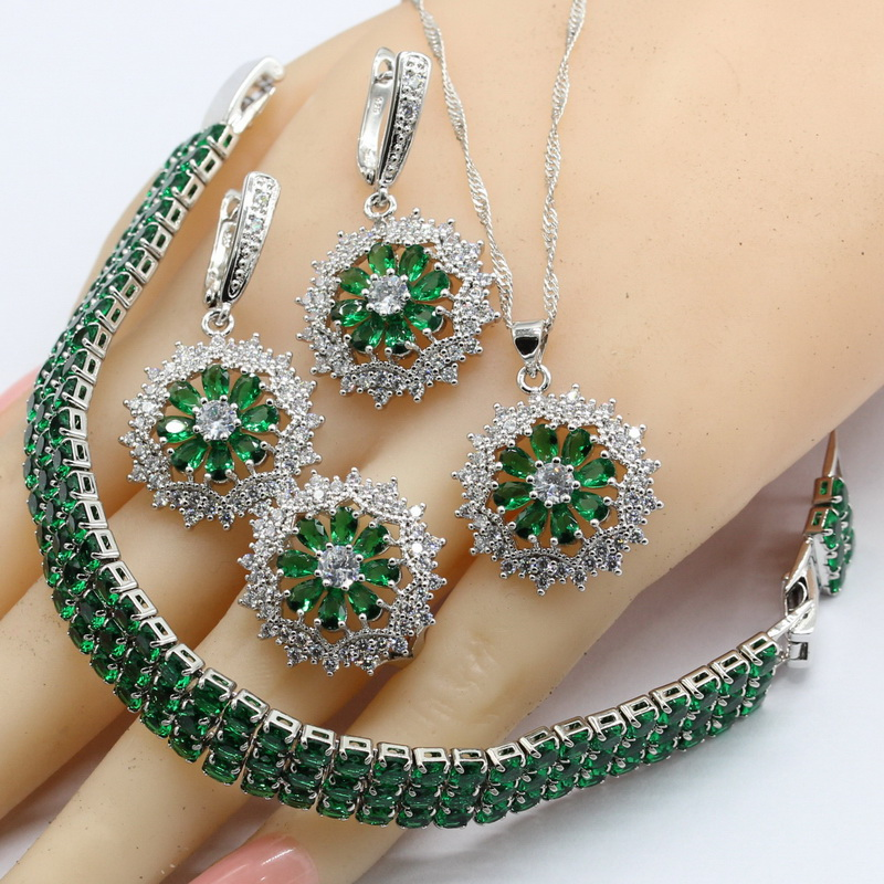 925 Silver Jewelry Sets For Women Flower Shape Green Semi-precious Necklace Pendant Bracelets Earrings Rings Free Gift Box chic rhinestone african plate shape pendant necklace and earrings for women