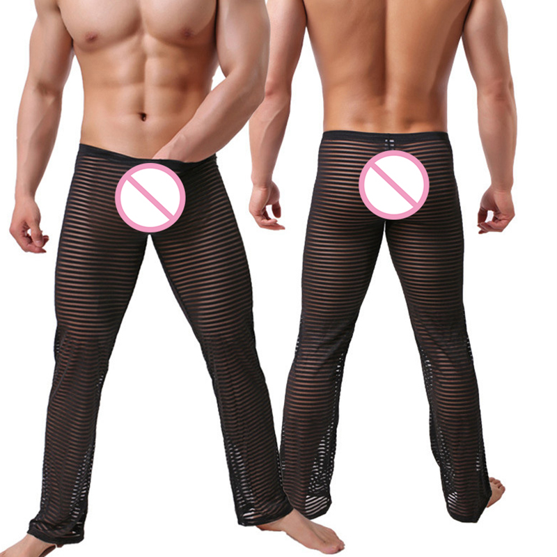 Men Sexy See Through Lounge Pants Gay Sleepwear Gay Male Funny Striped Long Pajama Bottoms Comfortable Sleep Bottoms
