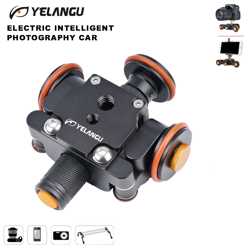 YELANGU Camera Video Track Dolly Motorized Electric Slider Motor Dolly Truck Car For Nikon Canon Sony Camera 3-wheel Dolly