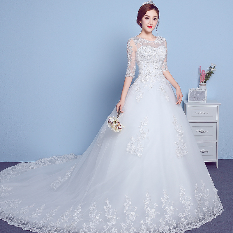2019 New Sleeves Round Neck Trailing Simple Lace Pregnant Women Wedding Dress2019 New Sleeves Round Neck Trailing Simple Lace Pregnant Women Wedding Dress