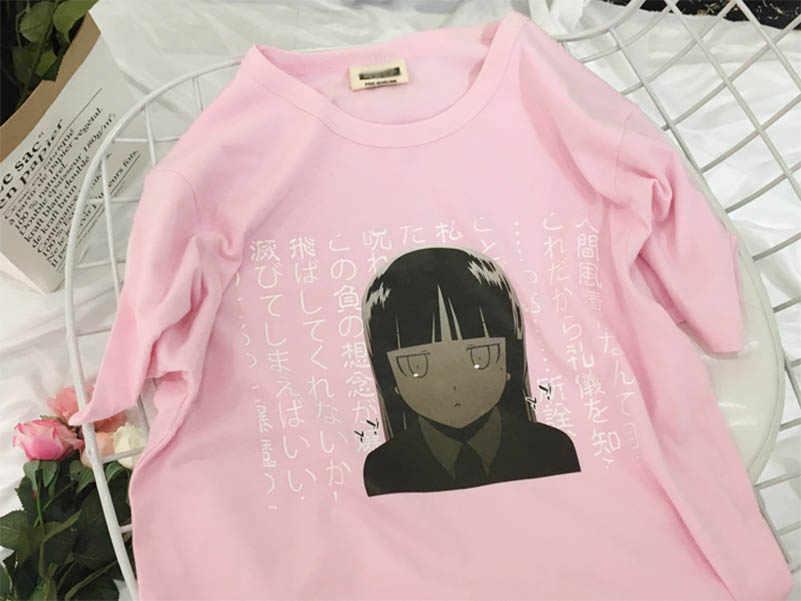 NiceMix Mùa Hè Màu Đen Nữ T-Shirt Nhật Bản Harajuku Gothic Phong Cách Giản Dị Đồ Họa Tee Tops Kawaii Phim Hoạt Hình In Phụ Nữ T Áo Sơ Mi
