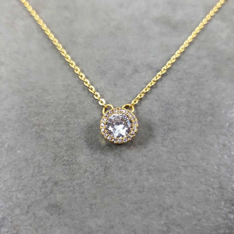 Punto de cristal collares para las mujeres joyería de la boda de Collier Femme 2019 ronda colgantes CZ collar con cadena de acero inoxidable de regalo