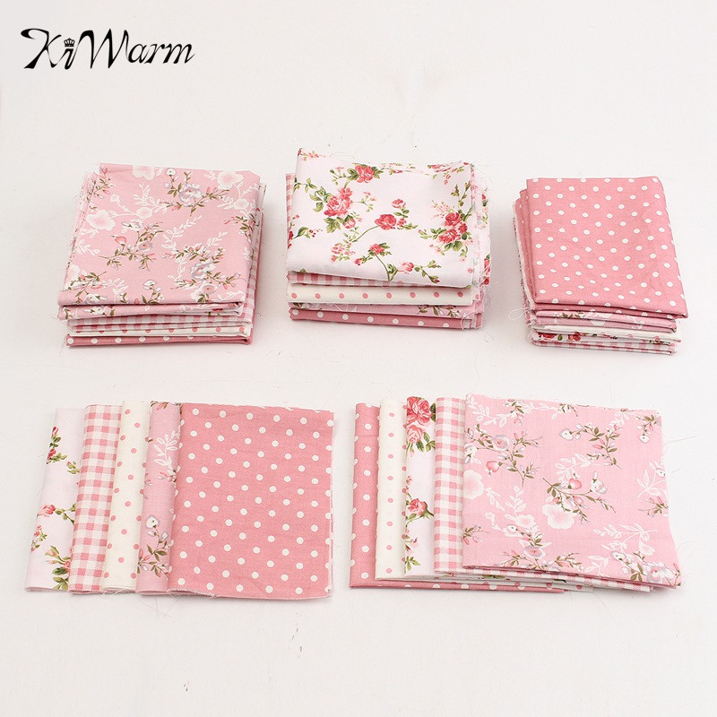 5pcs set pink flower floral dot cotton fabric patchwork for Cloth material for sewing