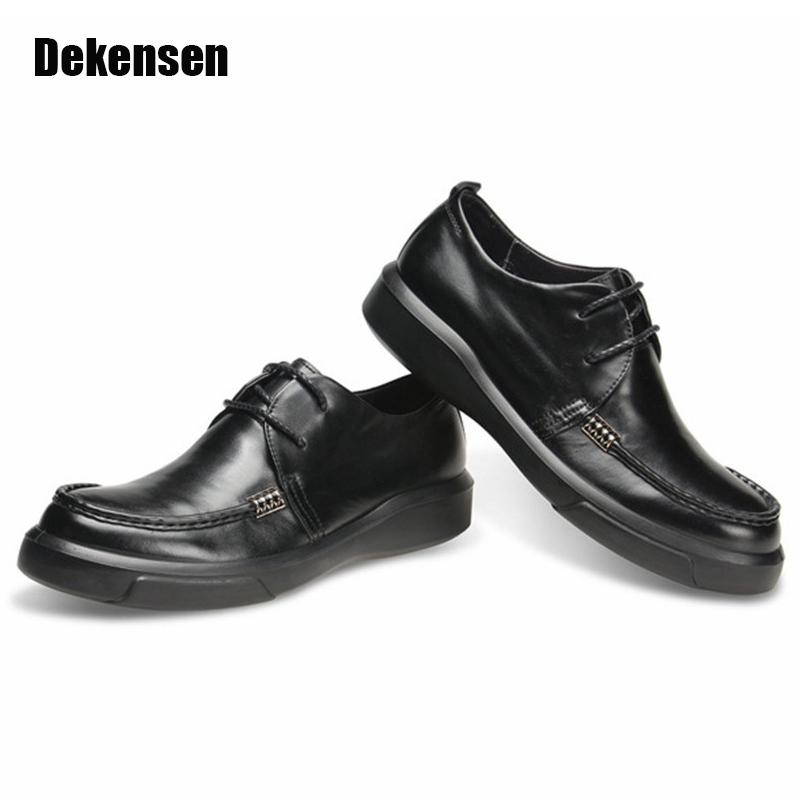 New 2017 Top Quality Men Genuine Leather Shoes Oxfords,Fashion Lace Up Flats Man Dress Shoes Casual Office Formal Business SHoes relikey brand men casual handmade shoes cow suede male oxfords spring high quality genuine leather flats classics dress shoes