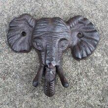 Старинный репродукция Чугунная голова слона один крюк Настенный