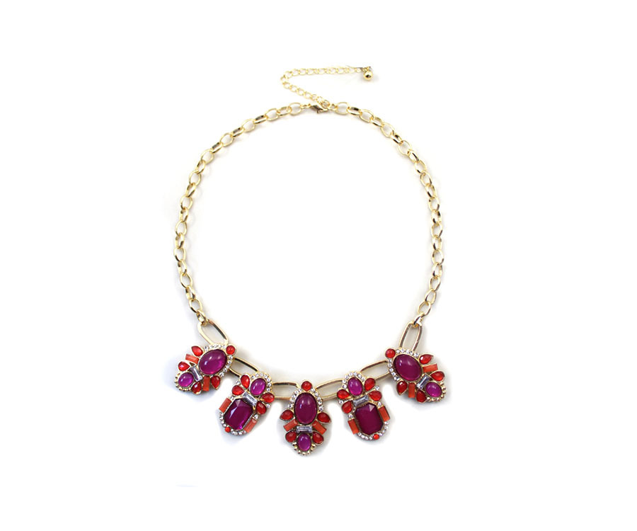 New Design Vintage Gold Color Alloy Inlaid Artificial Gemstones Necklace for Women Free Shipping