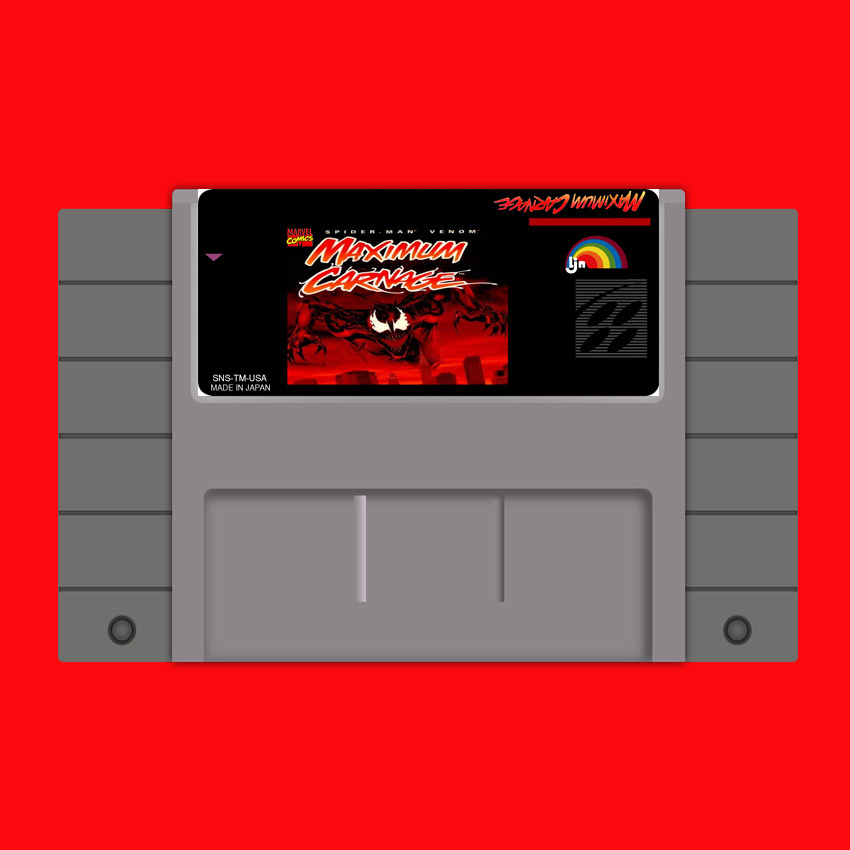 Spider Man Venom Maximum Carnage 16 bit Big Gray Game Card For USA NTSC Game Player