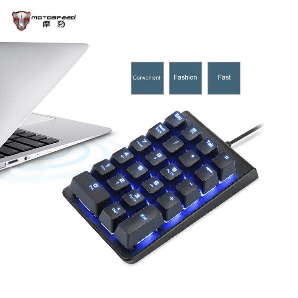 Motospeed Mechanical Numeric Keypad Red Switch Wired Ice Blue Backlight Gaming Keypad 22 keys Mini Portable Numpad Free Shipping