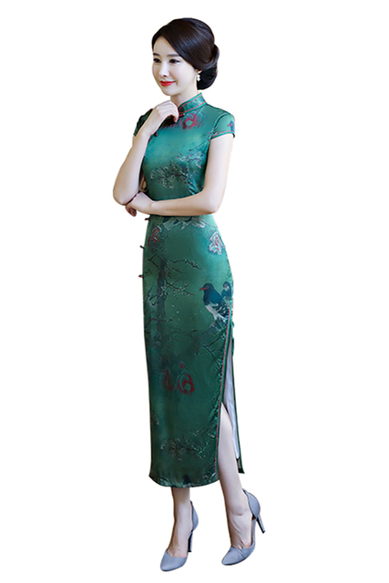 f5ed750f4a90f3 Shanghai Verhaal Lange Qipao Chinese Jurk Vogeldruk Cheongsam Chinese  Traditionele jurk Oosterse jurk Chinese Vrouw Kleding