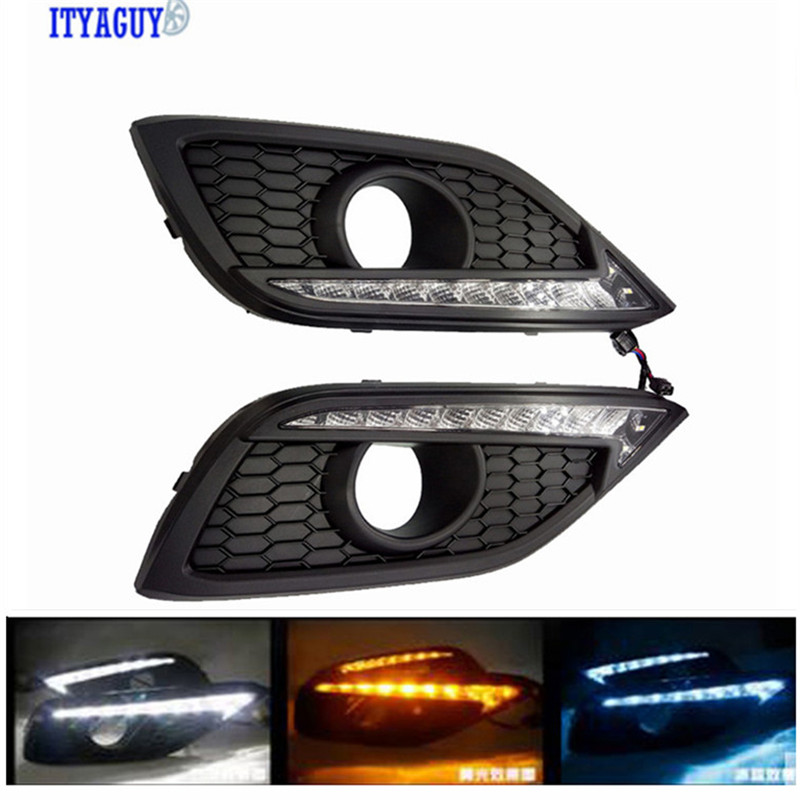 Car-styling DRL fog lamp cover Daytime Running Lights with turn signal 12V Daylight For CRV 2012-2014 2 pcs car styling daytime running lights with fog lamp for n issan new t eana or a ltima 2013 2015 turn signal