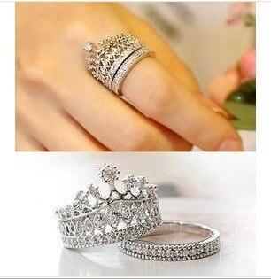2015 New Style Fashion Jewelry Rings Elegant Austrian Crystal Crown Sparkling Cute CZ Diamond Party