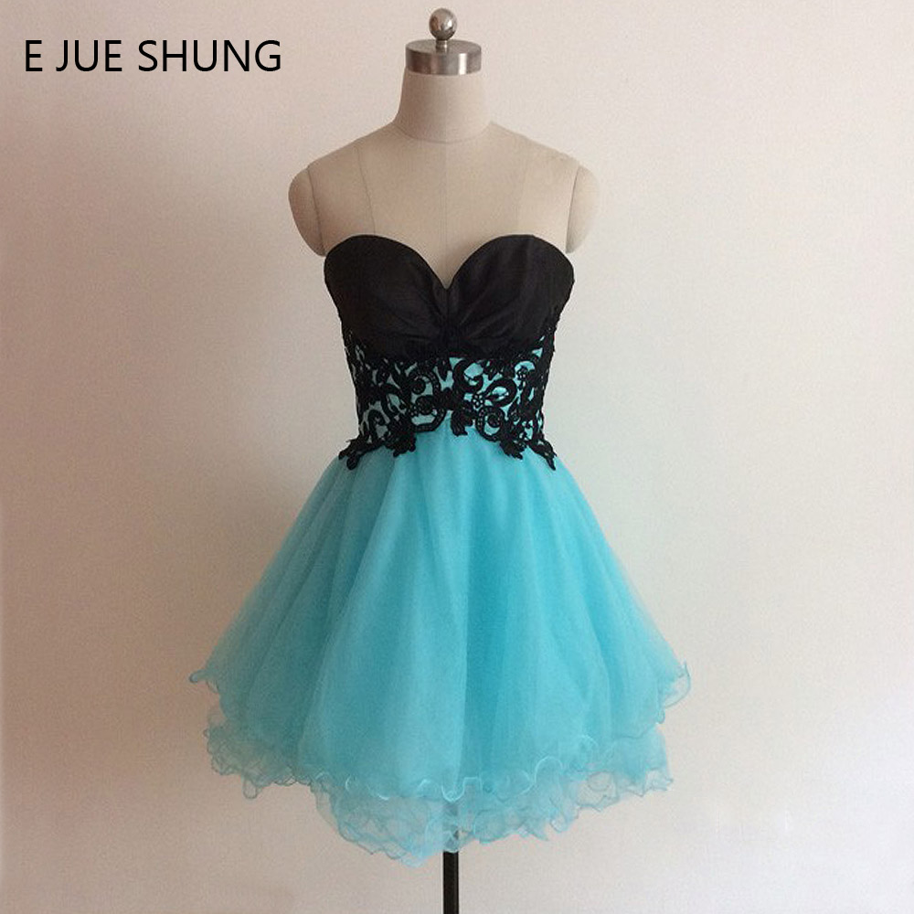 E JUE SHUNG Black And Turquoise blue Short Prom Dresses Sweetheart Cheap Short Cocktail Party Dresses vestidos de baile