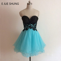 E JUE SHUNG Black And Turquoise Blue Short Prom Dresses Sweetheart Cheap Short Cocktail Party Dresses