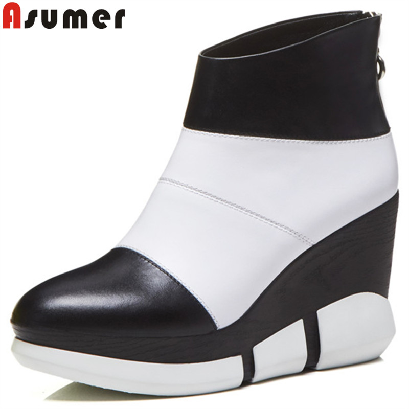 ASUMER hot sale ankle boots for women round toe genuine leather boots mixed colors wedges high heels shoes autumn winter boots asumer 2017 hot sale round toe square high heels women ankle boots restoring flock leather platform boots autumn winter shoes