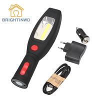 2 Modes Portable LED Working Flashlight Inspection Torch Light lamp with Magnet & Rotating Hanging Hook for Outdoors camping
