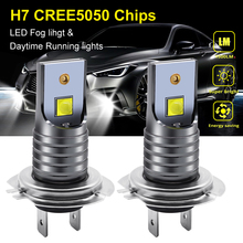 1pair 40W H7 LED Auto Fog Light Bulbs 5050 Chips 6000K Pure White Waterproof LED Fog Driving Lights Car Front Headlamp DC 12V