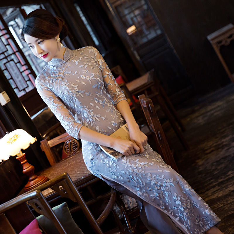 New Design Sexy Ladies Long Cheongsam Embroidery Chinese Traditional Qipao Summer Vintage Elegant Qipao Dresses
