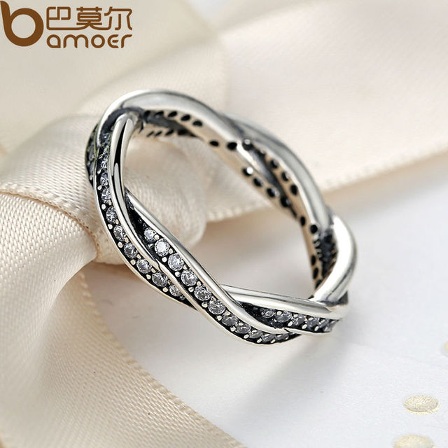 Sterling Silver BRAIDED PAVE SILVER RING