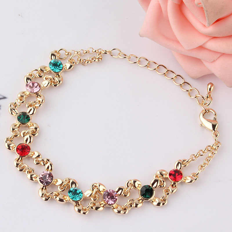 Free shipping New Fashion Hot Women's/Girl's  Gold-color Colorful Austrian Crystal Bracelets & Bangles Gift Jewelry