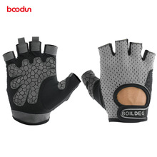 BOODUN Non-slip Breathable Crossfit Weightlifting Gym Fitness Half Finger Gloves Men Women Dumbbell Musculation Barbell
