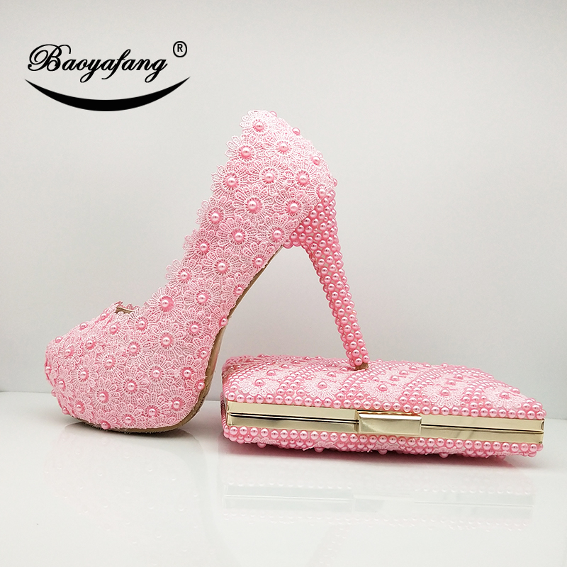 BaoYaFang Baby Pink Flower Wedding shoes with matching bags Ladies Platform shoes woman 12cm High heel