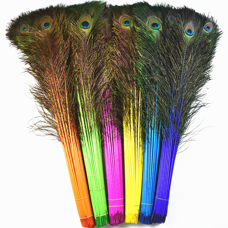Wholesale 50Pcs/Lot Natural Real Dyed Peacock Feathers 70-80CM/28-32 Feather for Crafts DIY Wedding Decoration Plumes