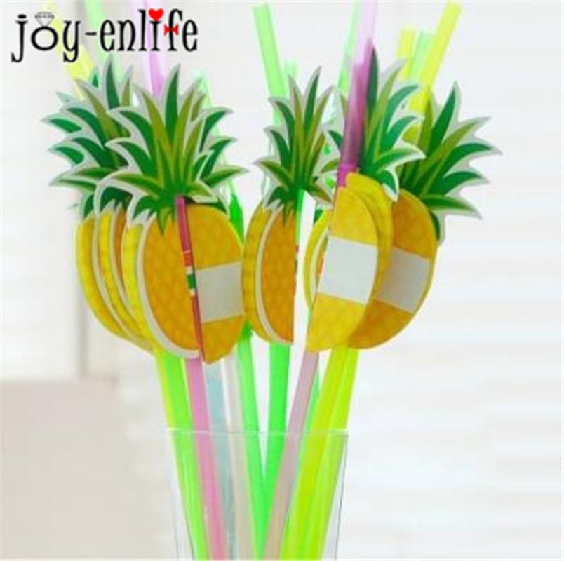 JOY-ENLIFE 30PCS Pineapple Honeycomb Straw 3D Straw Bendy Flexible Paper Drinking Straws Kids Birthday Pool Party supplies