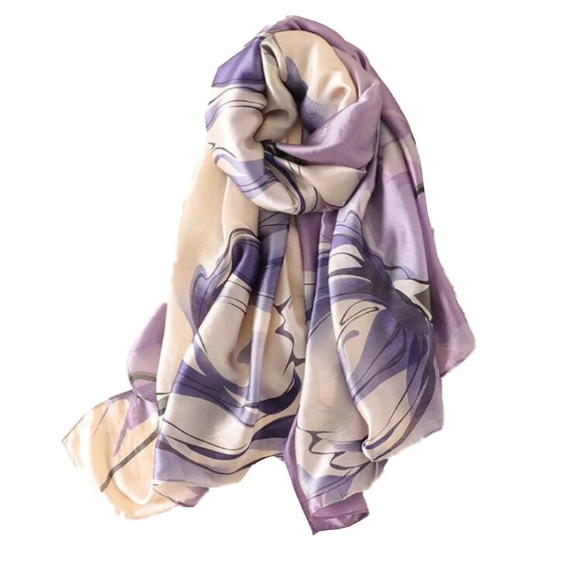 Summer Women Imitation Silk Printing   Scarf   Purple Beach Shawl Luxury Silk   Scarves     Wrap   Shawl   Scarves   Female High Quality