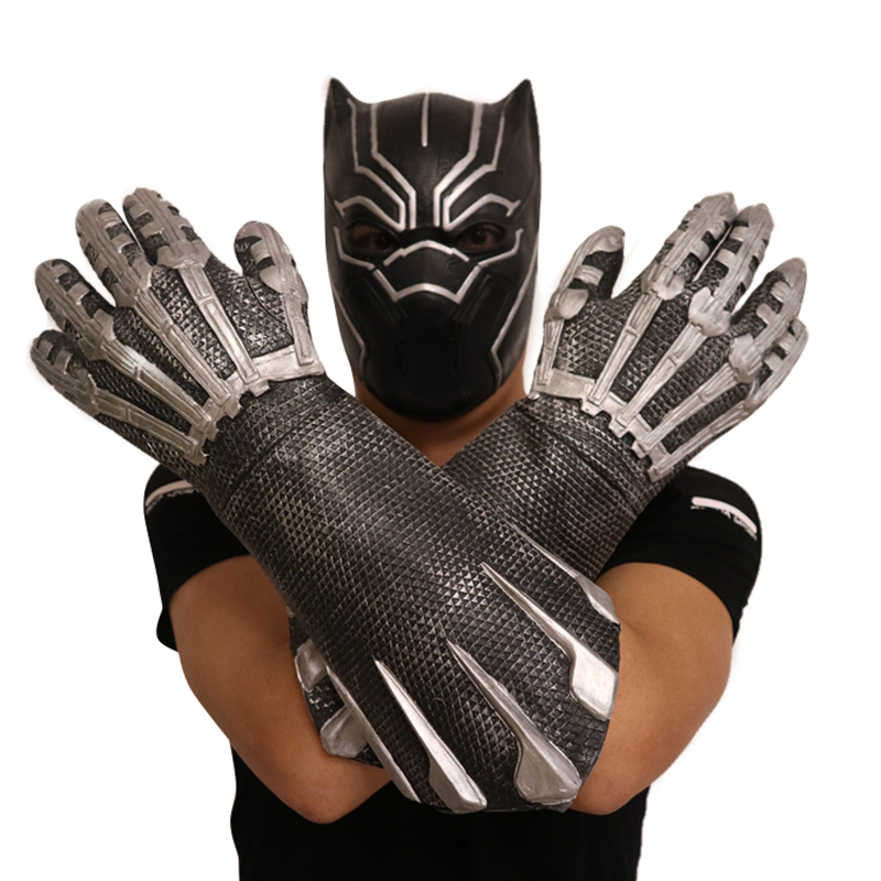 Deluxe Panther Cosplay Costume Gloves Fantastic Panther Latex Paws Superhero Costume Party Halloween Christmas Fancy Dress 2pcs