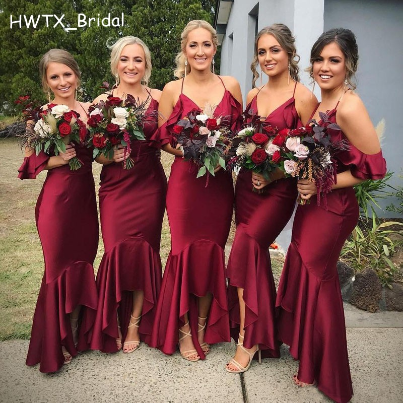Burgundy Hi Low Bridesmaid Dresses Elegant Short Front Long Back Prom Formal Gowns 2018 Sexy Mermaid Wedding Guest Dress Cheap