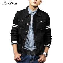 ZhenZhou S-5XL Denim Jacket Men Black Patchwork Knitted Sleeve JC31 Bomber Jacket Men Veste Homme Chaquetas Hombre 2016(China)