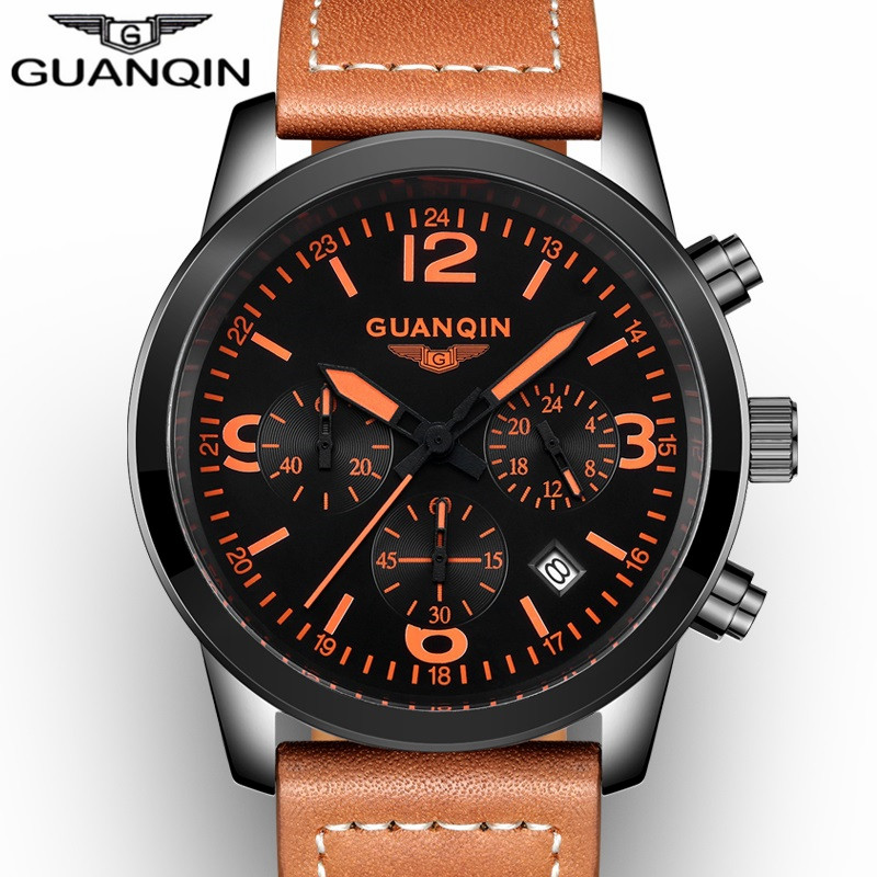 Originele GUANQIN Sport Herenhorloges Lederen Band Mode - Herenhorloges