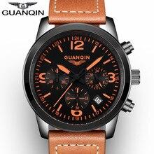 Original GUANQIN Sport Мужские часы Кожаный ремешок Мода Многофункциональный Кварцевые часы Мужчины Часы с хронографом 24 часа Светящиеся