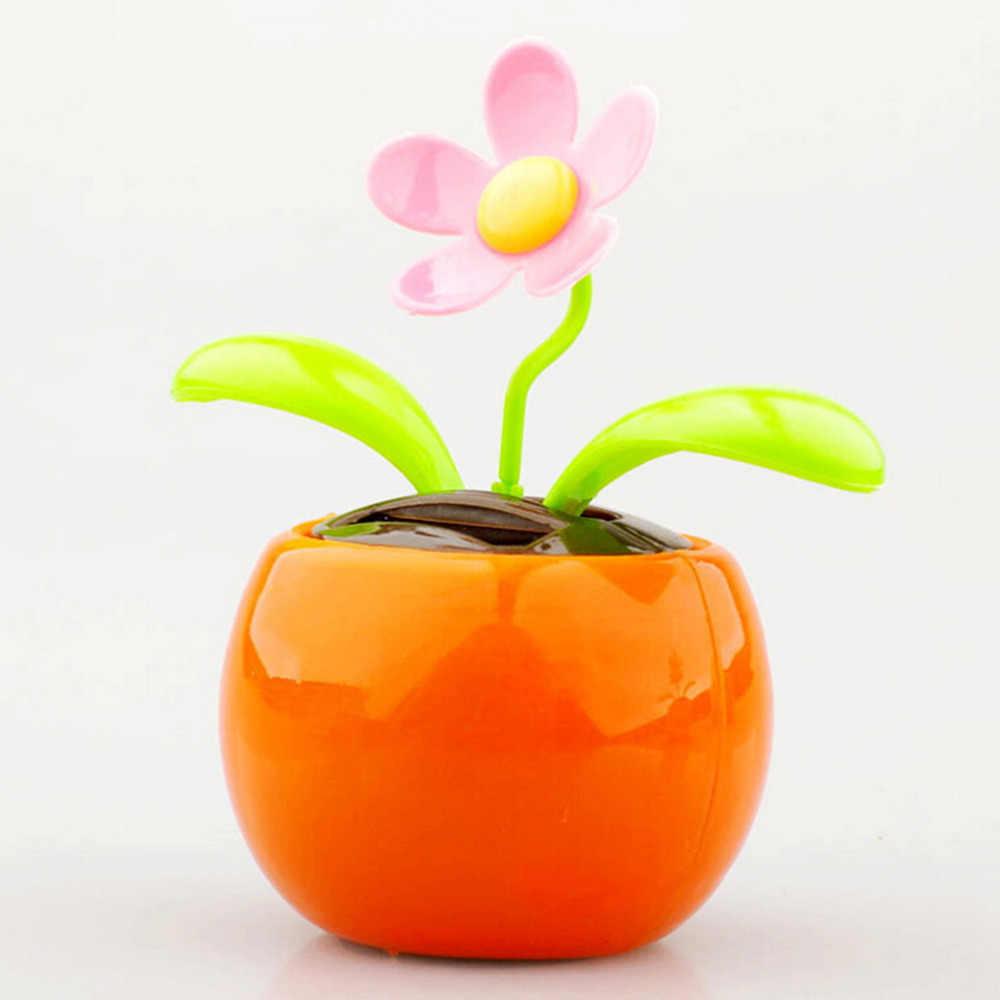 1 Buah Plastik Kerajinan Rumah Mobil Pot Bunga Tenaga Surya Flip Flap Bunga Tanaman Ayunan Auto Dance Mainan Gaya Dekorasi ornamen