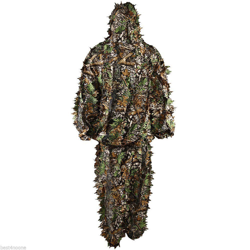 5e55f806ab7fc Practical 3D Leaf Camo Camouflage Clothing Outdoor Jungle Hunting Woodland  Ghillie Suit Forest Military Sniper Training-in Hunting Ghillie Suits from  Sports ...