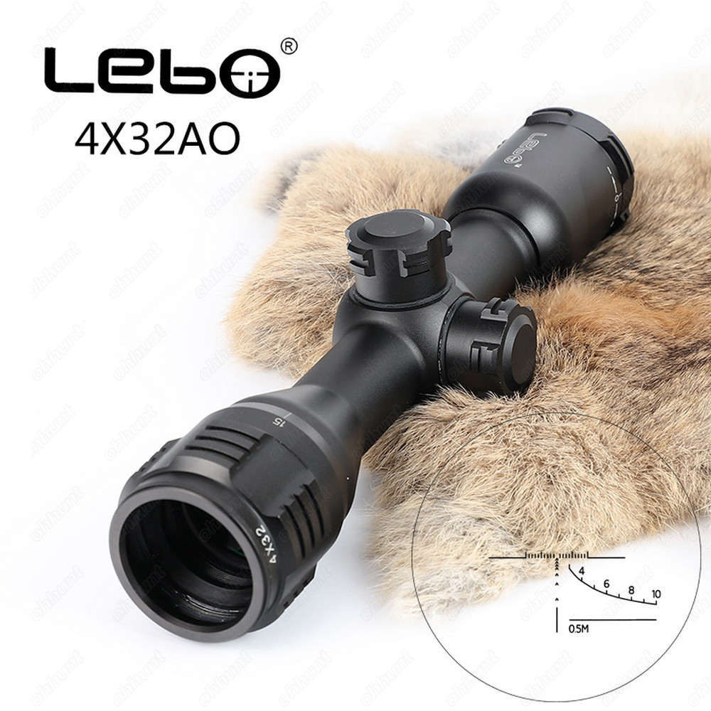LEBO 4x32 AO Tactical Optical Sight Glass Etched Reticle Compact Rifle Scope For Hunting Riflescope