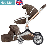 Hot Mom Luxury 2 in 1 Baby Stroller Fashion and High Landscape Stroller Four Wheel Baby Pram Light fold Carriage free shipping