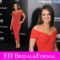 Mila Kunis Red Dress Off the Shoulder Chiffon Tea Length Formal Evening Gown Tight Fitted Celebrity Party Gown