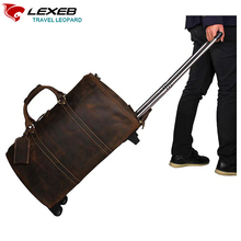 Luggage Bag Trolley LEXEB Men's Real Leather Suitcase 21″ Business Travel Bags On Wheels Board Chassis Luxury Brand Brown Koffer