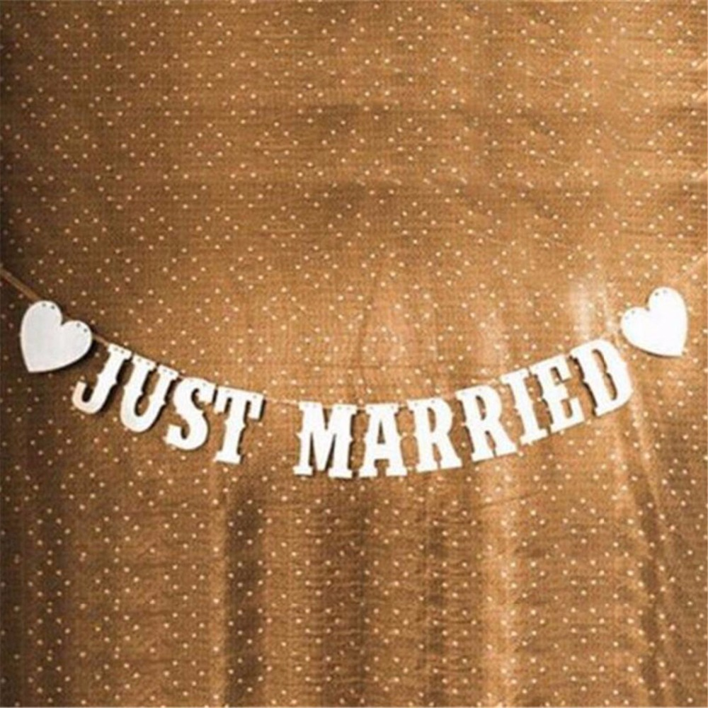 Vintage White Parper Just Married Letter Wedding Banner Romatic Wedding Events Party Decorations Supplies With 3M Ribbon in Party DIY Decorations from Home Garden