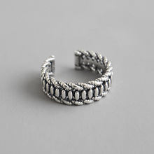 100% 925 Sterling Silver Ring For Women 2019 Geometric Vintage Twist Resizable Jewelry anillos plata para mujer