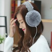 New Hot Unisex Autumn Winter Music Earphones Earmuffs Korean Cute Ear Muffs Rabbit Fur Earcap Plush