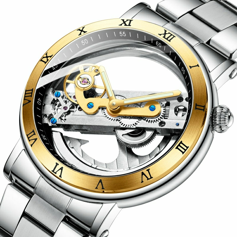 Double face Transparent tourmilliards en acier argenté mécanique Steampunk créatif automatique Forsining montre Top marque horloge de luxe